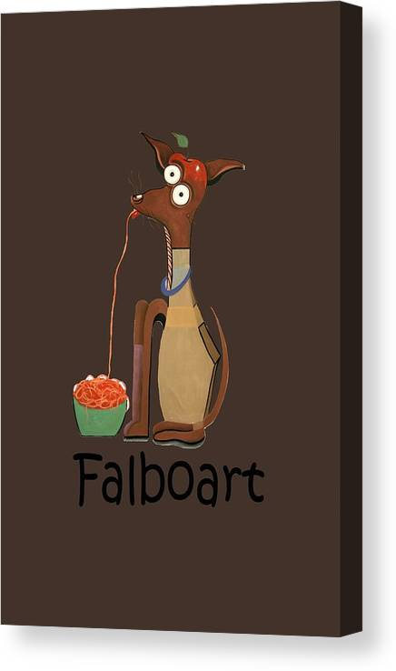My Apple Head Chiwawa T-shirt.dog T-shirt Canvas Print featuring the painting My Applehead Chiwawa by Anthony Falbo