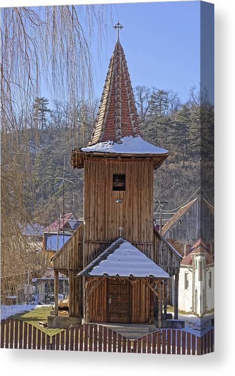 Ancient Canvas Print featuring the photograph Old wooden church from Sadu Sibiu county Romania by Adrian Bud