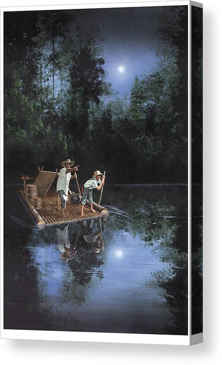 Harold Shull Canvas Print featuring the painting On The River by Harold Shull