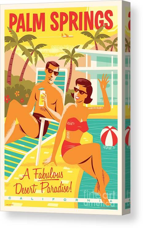 Pop Art Canvas Print featuring the digital art Palm Springs Poster - Retro Travel by Jim Zahniser