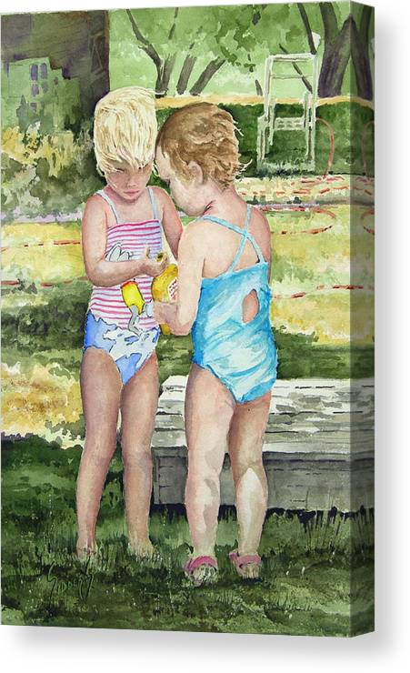 Children Canvas Print featuring the painting Pals Share by Sam Sidders