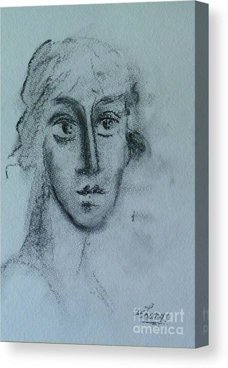 Woman Canvas Print featuring the drawing Perceptive by Ushangi Kumelashvili