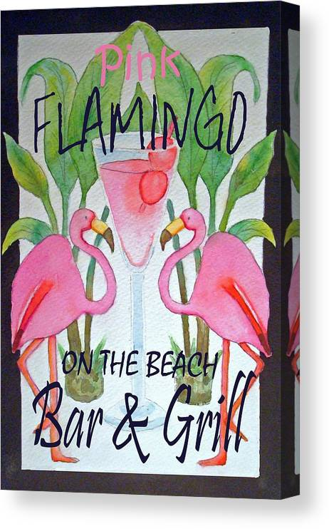 Pink. Flamingo Canvas Print featuring the painting Pink Flamingos On The Beach Bar and Grill by Kerra Lindsey