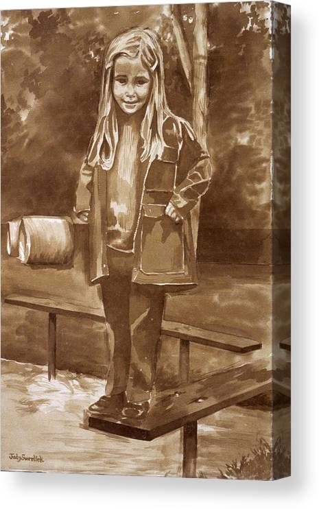 Little Girl On Bench In Park Canvas Print featuring the painting Playground 2 by Judy Swerlick
