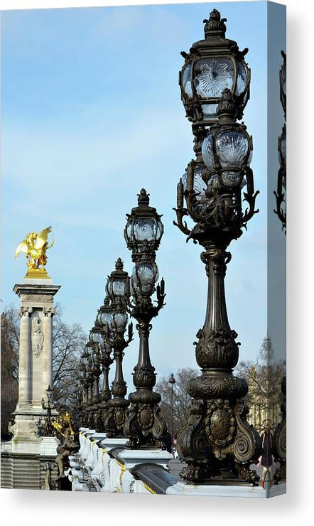 Pont Alexandre Iii Bridge Lamp Posts And Gilded Column Pegasus Paris France Canvas Print Canvas Art By Shawn O Brien