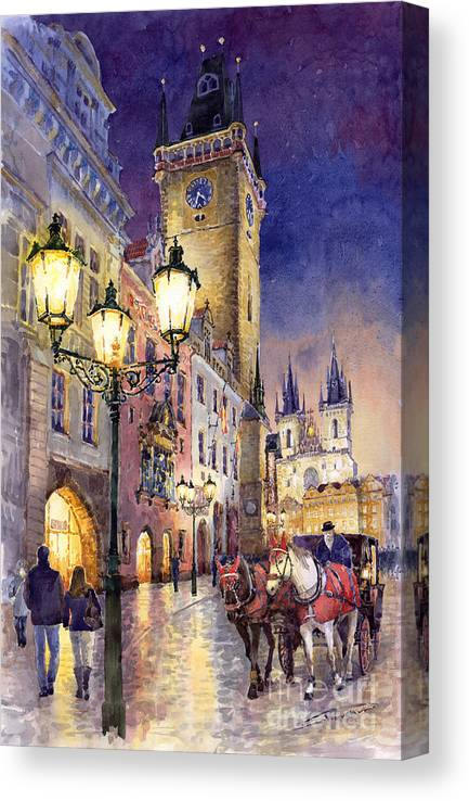 Cityscape Canvas Print featuring the painting Prague Old Town Square 3 by Yuriy Shevchuk