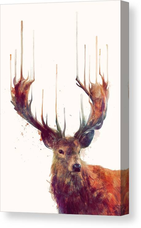 Red Deer Canvas Print featuring the painting Red Deer by Amy Hamilton
