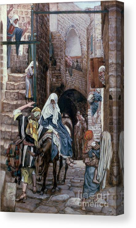 Joseph Canvas Print featuring the painting Saint Joseph Seeks Lodging in Bethlehem by Tissot