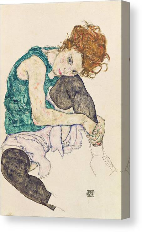 Egon Schiele Canvas Print featuring the painting Seated Woman with Bent Knee by Egon Schiele