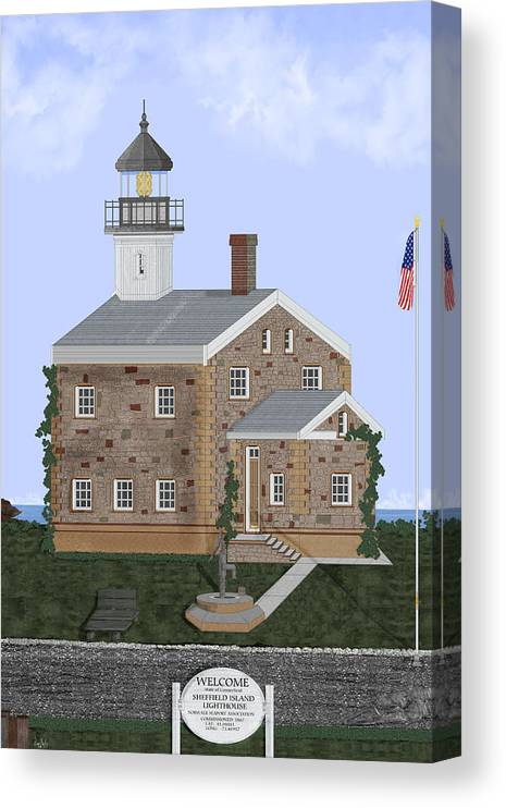 Lighthouse Canvas Print featuring the painting Sheffield Island Lighthouse Connecticut by Anne Norskog
