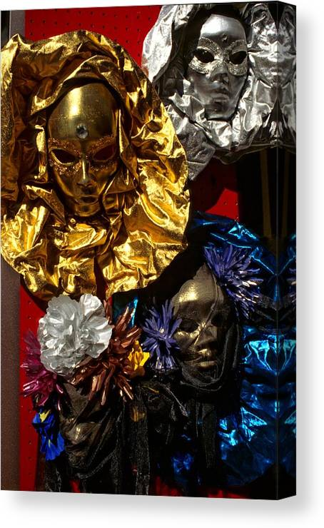 Venice Canvas Print featuring the photograph Shiny Masks in Venice by Michael Henderson