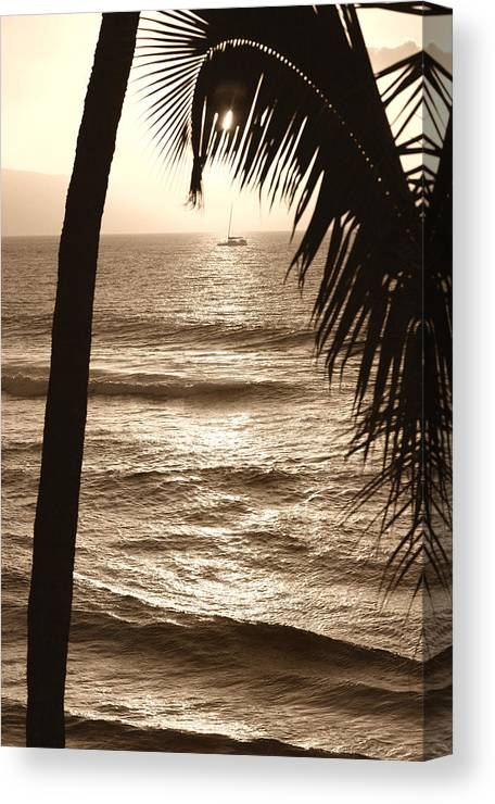 Hawaii Canvas Print featuring the photograph Ship in Sunset by Marilyn Hunt