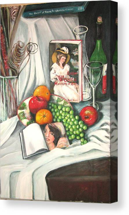 Still Life Canvas Print featuring the painting Simple Pleasures by Eileen Kasprick