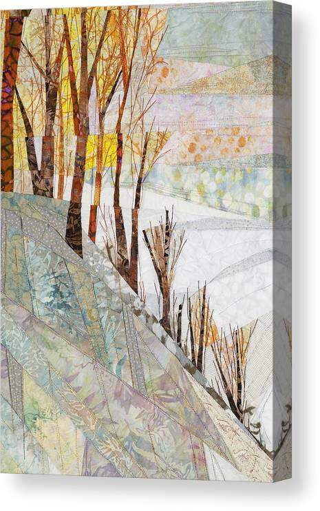 Tree Canvas Print featuring the tapestry - textile Snowy Dawn by Linda Beach