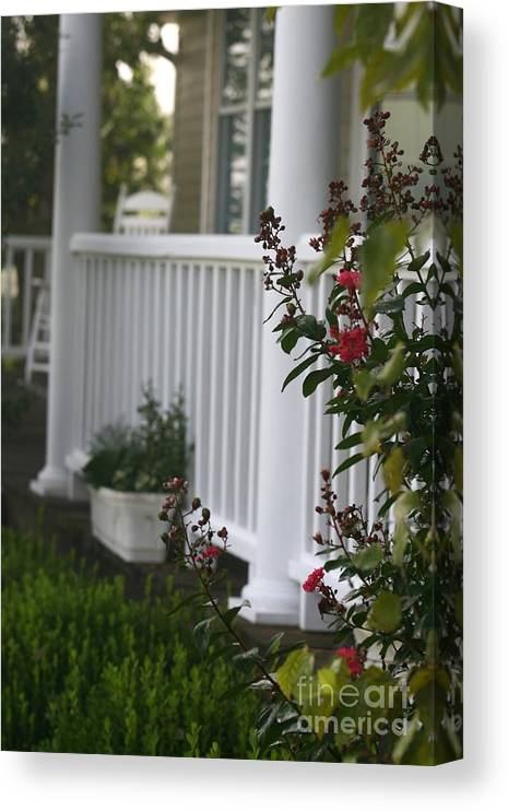 Summer Canvas Print featuring the photograph Southern Summer Flowers and Porch by Nadine Rippelmeyer