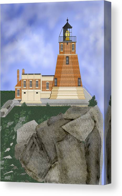 Split-rock Lighthouse Canvas Print featuring the painting Split Rock Lighthouse on the Great Lakes by Anne Norskog