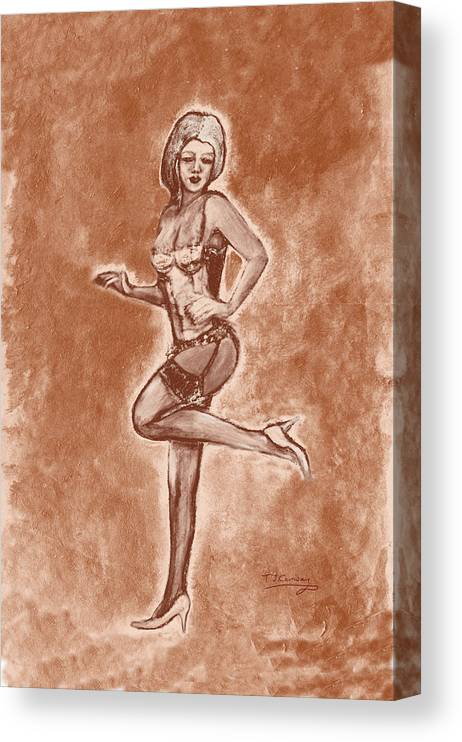 Vintage Style Pinup Girl Art Canvas Print featuring the painting Stockings And Stilettos by Tom Conway