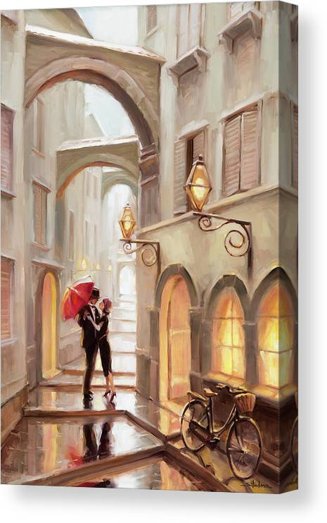 Love Canvas Print featuring the painting Stolen Kiss by Steve Henderson