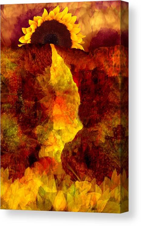 Sunflower Canvas Print featuring the digital art Sundown by Tom Romeo