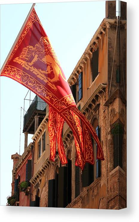 Venice Canvas Print featuring the photograph The Flag Of Venice by Michael Henderson