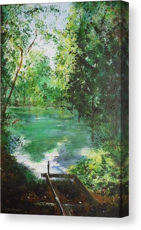 Lake Canvas Print featuring the painting The Lake At Stansted Unfinished by Lizzy Forrester