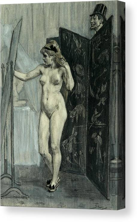 Felicien Rops Canvas Print featuring the drawing The Screen by Felicien Rops