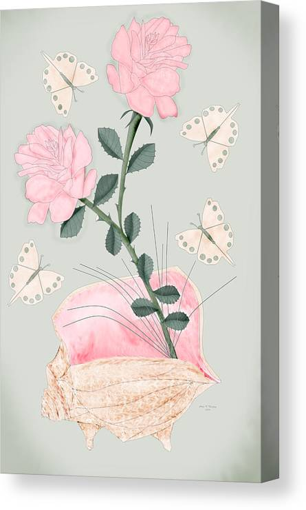 Conch Shell Canvas Print featuring the painting Treasures by Anne Norskog