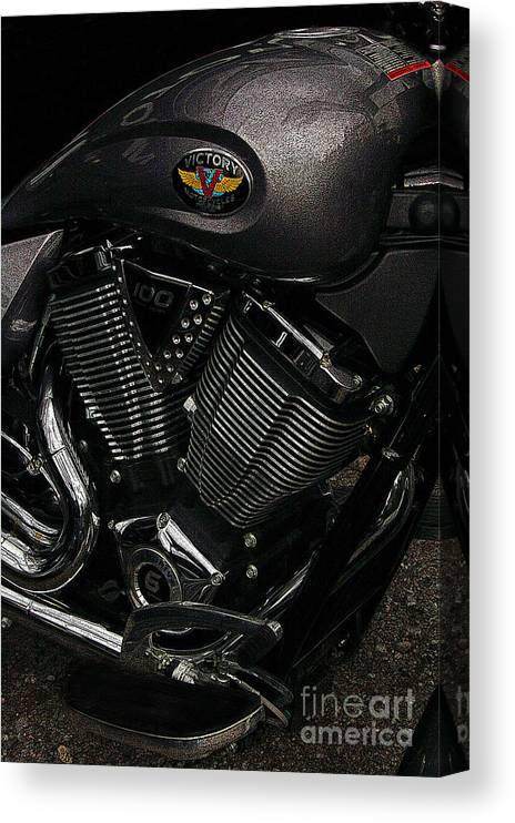 Diane Berry Canvas Print featuring the photograph Victory Motorcycle by Diane E Berry