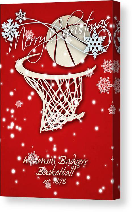 """30/"""" x 16/"""" Gallery Wrapped Canvas Wisconsin Badgers Basketball"""