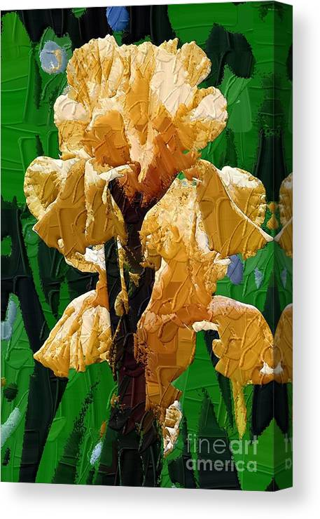 Diane Berry Canvas Print featuring the painting Yellow Iris by Diane E Berry