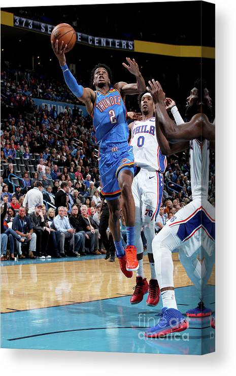 Nba Pro Basketball Canvas Print featuring the photograph 76ers Vs Thunder by Zach Beeker