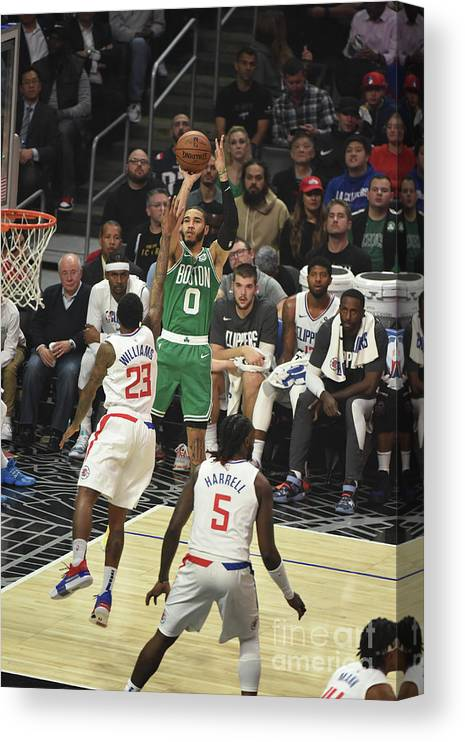 Nba Pro Basketball Canvas Print featuring the photograph Boston Celtics V La Clippers by Adam Pantozzi