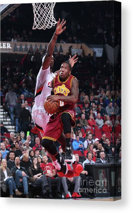 Nba Pro Basketball Canvas Print featuring the photograph Cleveland Cavaliers V Portland Trail by Sam Forencich