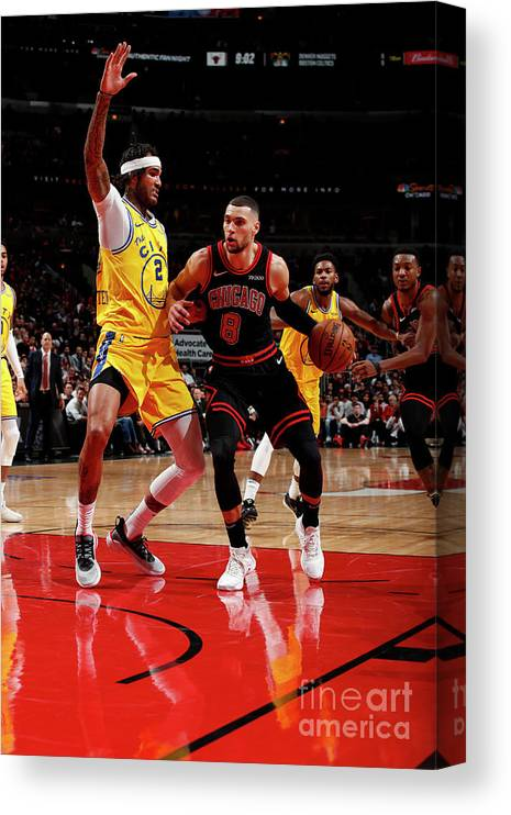 Chicago Bulls Canvas Print featuring the photograph Golden State Warriors V Chicago Bulls by Jeff Haynes