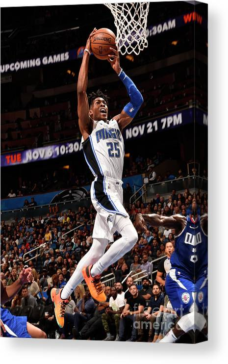 Nba Pro Basketball Canvas Print featuring the photograph La Clippers V Orlando Magic by Gary Bassing