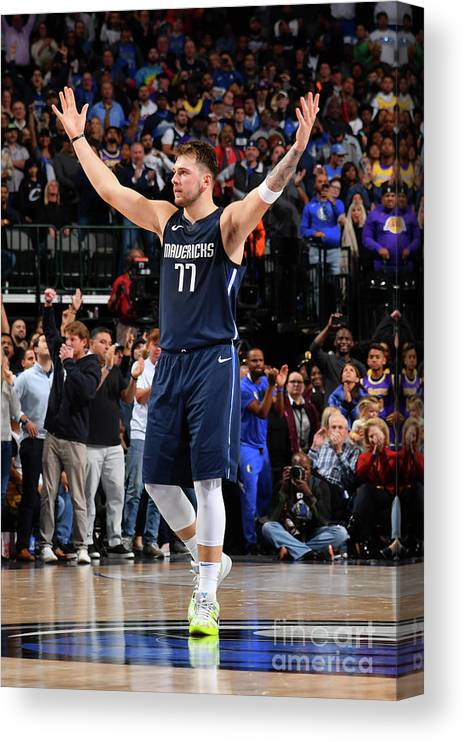 Nba Pro Basketball Canvas Print featuring the photograph Los Angeles Lakers V Dallas Mavericks by Jesse D. Garrabrant