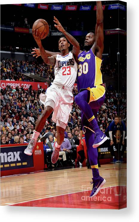 Nba Pro Basketball Canvas Print featuring the photograph Los Angeles Lakers V La Clippers by Andrew D. Bernstein