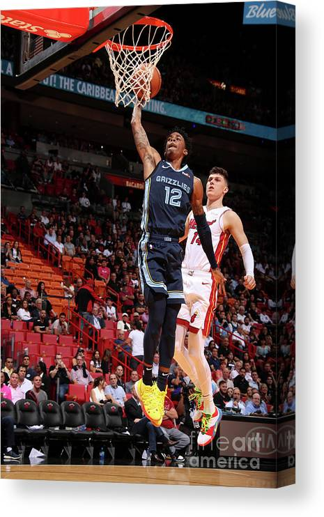 Nba Pro Basketball Canvas Print featuring the photograph Memphis Grizzlies V Miami Heat by Issac Baldizon