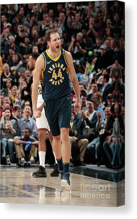Nba Pro Basketball Canvas Print featuring the photograph Milwaukee Bucks V Indiana Pacers by Ron Hoskins