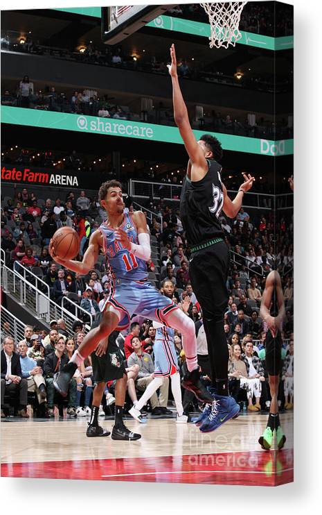 Atlanta Canvas Print featuring the photograph Minnesota Timberwolves V Atlanta Hawks by Jasear Thompson