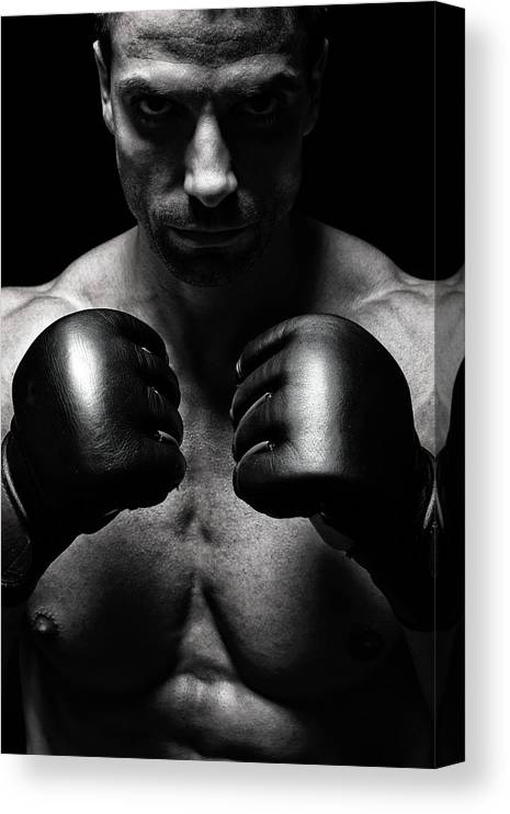 Toughness Canvas Print featuring the photograph Mma Fighter by Vuk8691