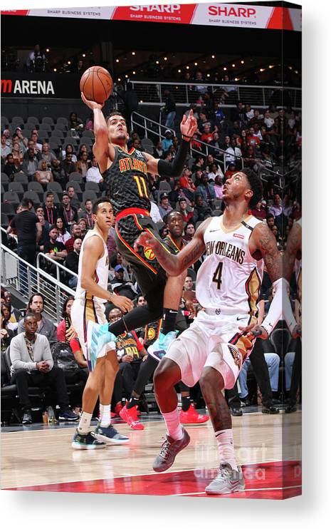 Atlanta Canvas Print featuring the photograph New Orleans Pelicans V Atlanta Hawks by Jasear Thompson