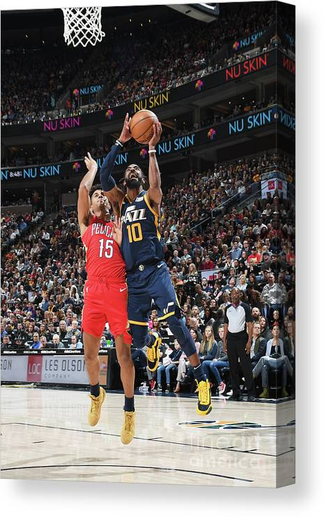 Nba Pro Basketball Canvas Print featuring the photograph New Orleans Pelicans V Utah Jazz by Noah Graham