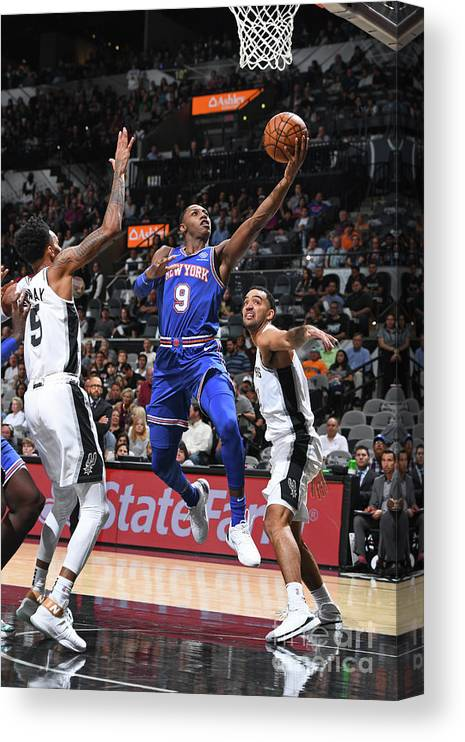 Nba Pro Basketball Canvas Print featuring the photograph New York Knicks V San Antonio Spurs by Garrett Ellwood