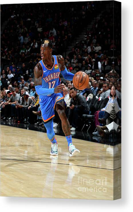 Nba Pro Basketball Canvas Print featuring the photograph Oklahoma City Thunder V San Antonio by Logan Riely