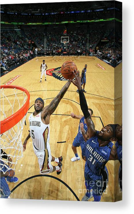 Smoothie King Center Canvas Print featuring the photograph Orlando Magic V New Orleans Pelicans by Layne Murdoch