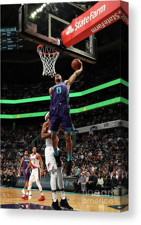Nba Pro Basketball Canvas Print featuring the photograph Portland Trail Blazers V Charlotte by Brock Williams-smith