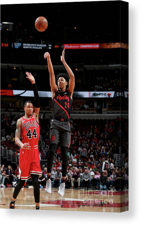 Nba Pro Basketball Canvas Print featuring the photograph Portland Trail Blazers V Chicago Bulls by Gary Dineen