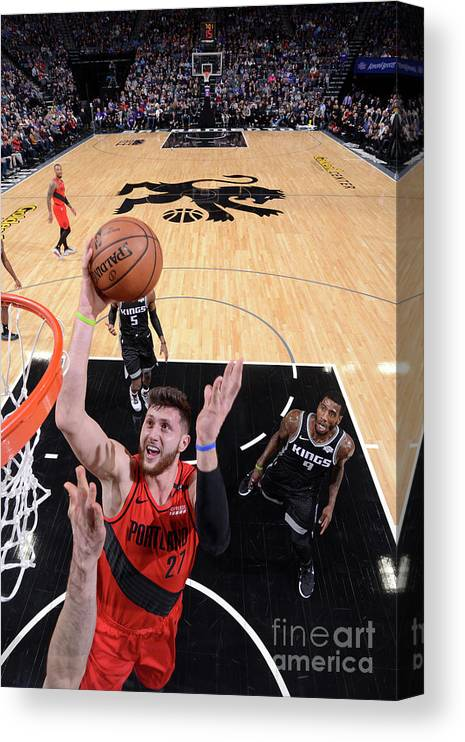 Jusuf Nurkić Canvas Print featuring the photograph Portland Trail Blazers V Sacramento by Rocky Widner