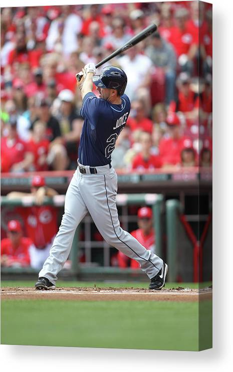 Great American Ball Park Canvas Print featuring the photograph Tampa Bay Ray V. Cincinnati Reds by John Grieshop